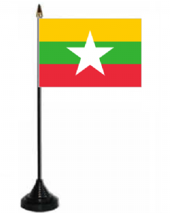 Myanmar Desk / Table Flag with plastic stand and base.